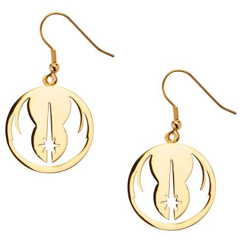 Stainless Steel Gold Ion-Plated Star Wars Jedi Order Hook Dangle Earrings