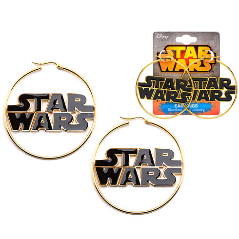 Enamel Star Wars Logo Gold Plated Hoop Earrings