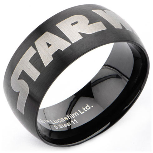 Stainless Steel Star Wars Black Logo Ring