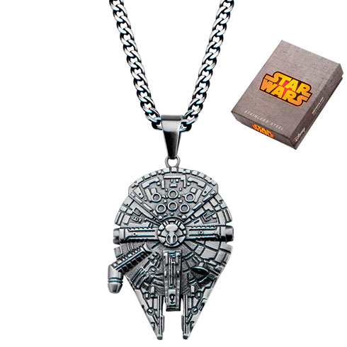 Stainless Steel Star Wars Millennium Falcon Pendant on 22in Chain