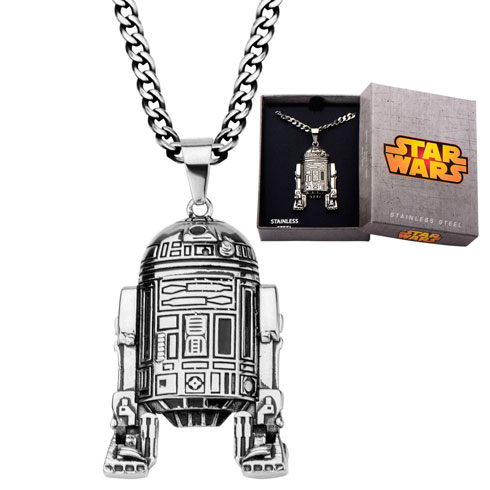 Stainless Steel Star Wars R2D2 Pendant on 22in Chain