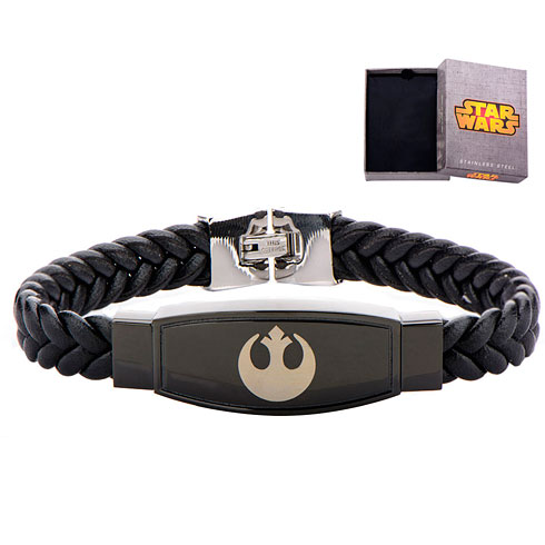 Stainless Steel Star Wars Rebel Alliance Symbol Braided Leather Bracelet