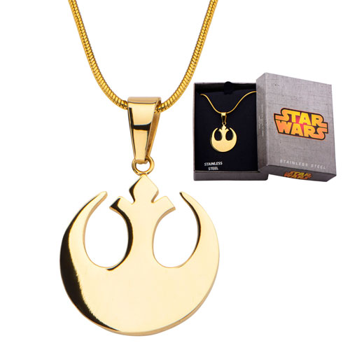 Stainless Steel IP Gold Star Wars Rebel Alliance Small Pendant with 20in Chain