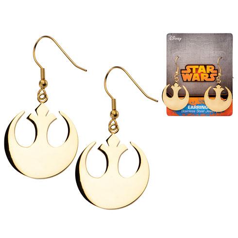 Stainless Steel Star Wars IP Gold Rebel Alliance Symbol Hook Dangle Earrings