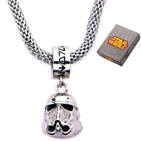Stainless Steel Star Wars Storm Trooper Charm on Mesh 16in Chain