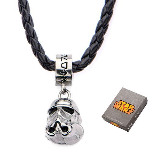 Stainless Steel Star Wars Storm Trooper Charm on Leather 16in Chain