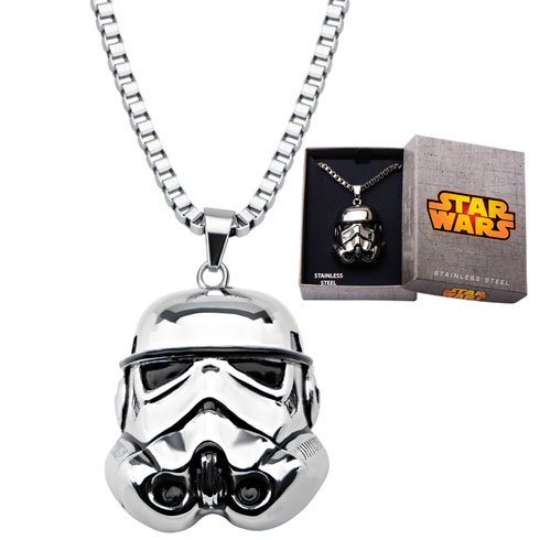 Stainless Steel Star Wars 3D Storm Trooper Pendant on 22in Chain