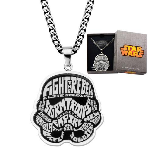 Stainless Steel Star Wars Storm Trooper Enamel Typography Art Pendant on 22in Chain