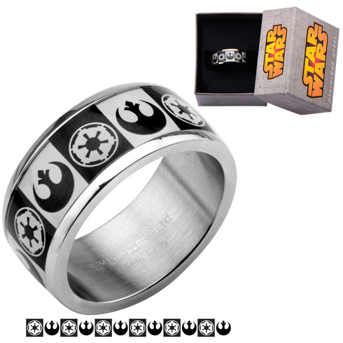 Stainless Steel Star Wars Galactic Empire and Rebel Alliance Ring