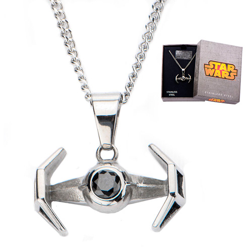 Stainless Steel Star Wars Tie Fighter Pendant with 18in Chain