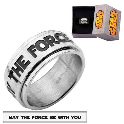 Stainless Steel Star Wars MAY THE FORCE BE WITH YOU Spinner Ring