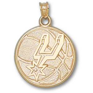 10kt Yellow Gold 3/4in San Antonio Spurs Basketball Pendant