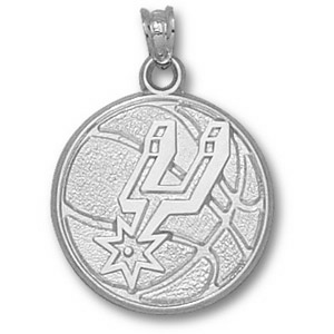 Sterling Silver 3/4in San Antonio Spurs Basketball Pendant