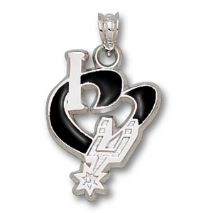 Sterling Silver 3/4in I Heart the Spurs Enamel Pendant