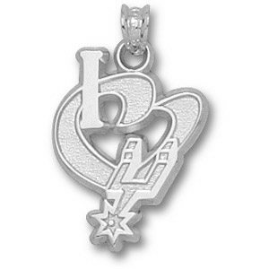 Sterling Silver 3/4in I Heart the Spurs Pendant