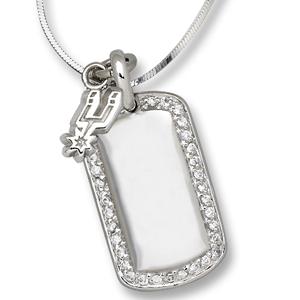 Sterling Silver San Antonio Spurs Mini Dog Tag Necklace