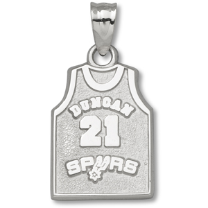 Sterling Silver 5/8in Tim Duncan #21 Jersey Pendant