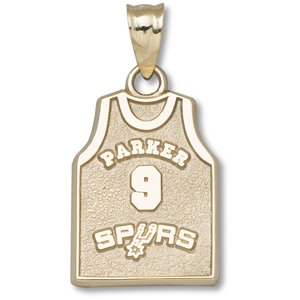 14kt Yellow Gold 5/8in Tony Parker #9 Jersey Pendant