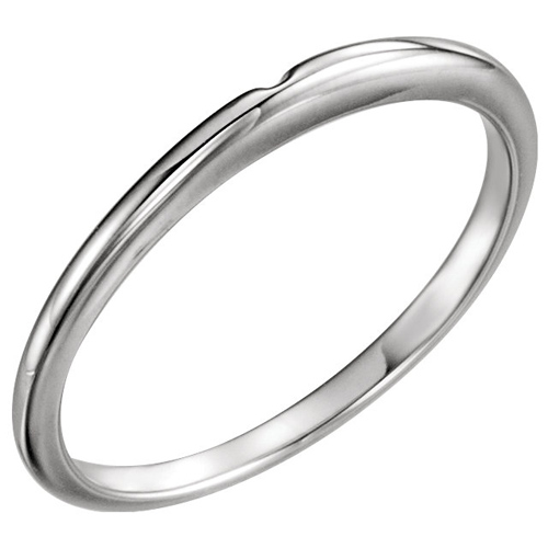 14kt White Gold Wedding Band for Solitaire No. 2