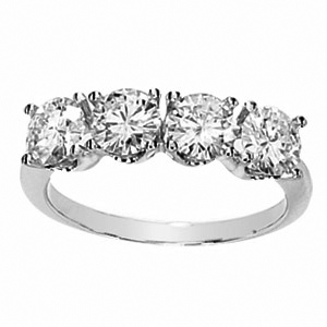 Platinum 2 ct tw Forever One Moissanite 4-Stone Ring