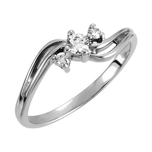 14kt White Gold 1/7 ct 3-Stone Diamond Promise Ring