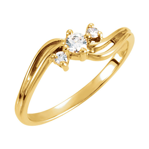 14kt Yellow Gold 1/7 ct 3-Stone Diamond Promise Ring