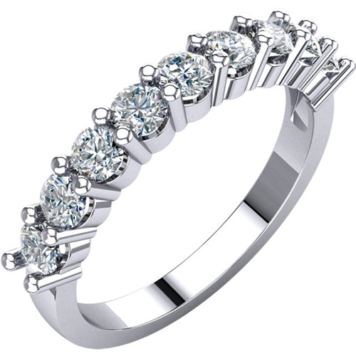 14kt White Gold 9-Stone Forever One Moissanite Anniversary Band