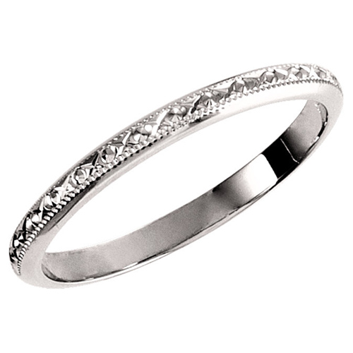 Platinum 2mm Hand Engraved Wedding Band With Milgrain