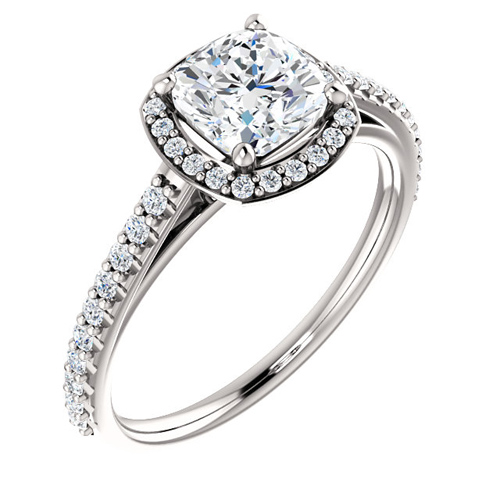 14kt White Gold 1 ct Forever One Moissanite Cushion Halo Ring with 4/5 ct Diamonds