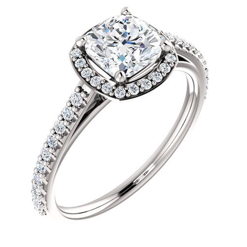 14kt White Gold 1 ct Forever One Moissanite Cushion Halo Ring