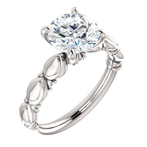 14k White Gold 2 ct Forever One Moissanite Sculptural Engagement Ring