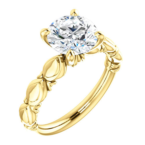 14k Yellow Gold 2 ct Forever One Moissanite Sculptural Engagement Ring