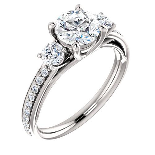 14kt White Gold 1.3 ct Forever One Moissanite 3-Stone Ring