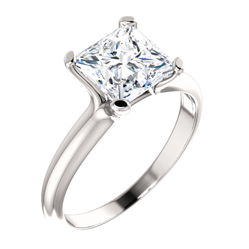 14kt White Gold 2.1 ct tw Square Forever One Moissanite Solitaire Ring