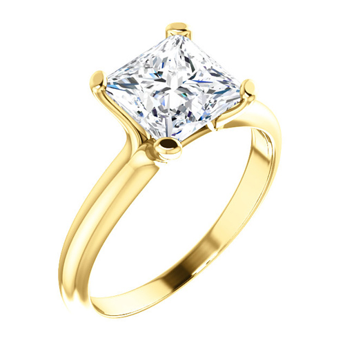 14kt Yellow Gold 2.1 ct tw Square Forever One Moissanite Ring