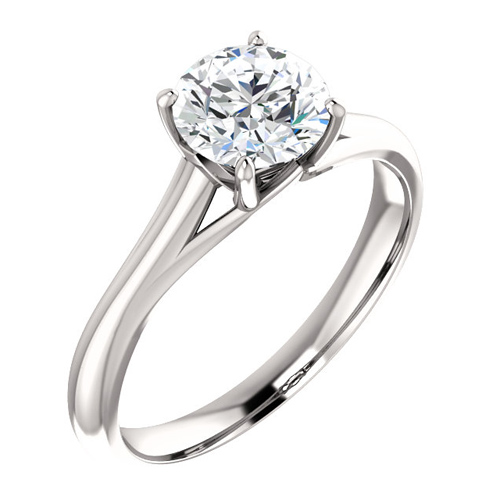 14kt White Gold 1 ct Forever One Moissanite Ring with Vaulted Gallery