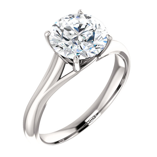 14kt White Gold 2 ct Forever One Moissanite Ring with Vaulted Gallery