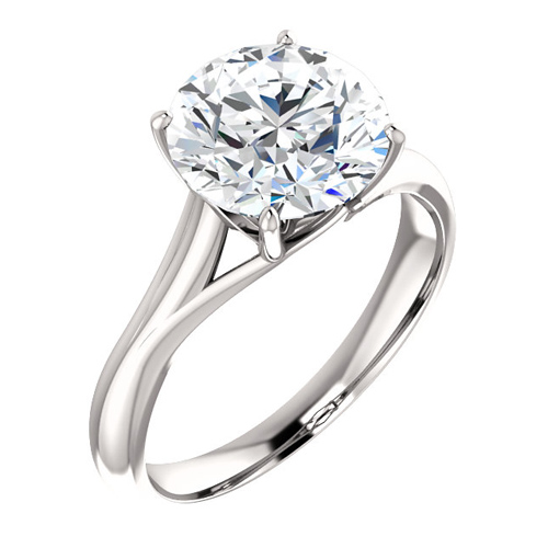 14kt White Gold 3 ct Forever One Moissanite Ring with Vaulted Gallery