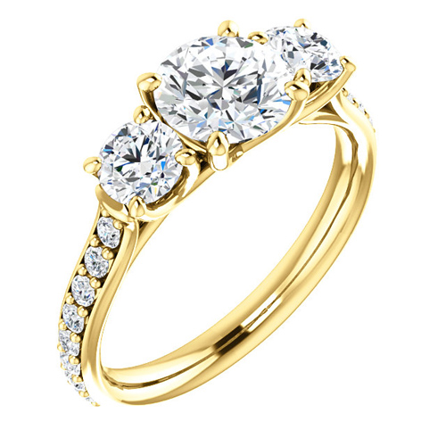 14kt Yellow Gold 1.6 ct Forever One Moissanite 3-Stone Ring
