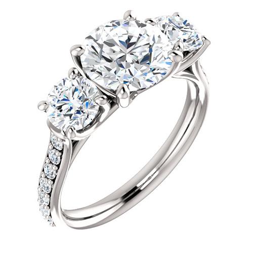 14kt White Gold 3 ct Forever One Moissanite 3-Stone Ring