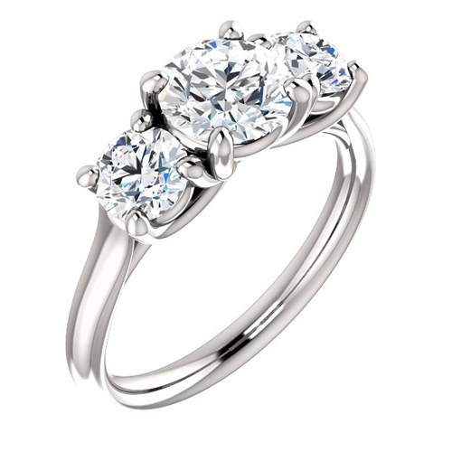 Platinum 2.5 ct tw Forever One Moissanite 3-Stone Ring