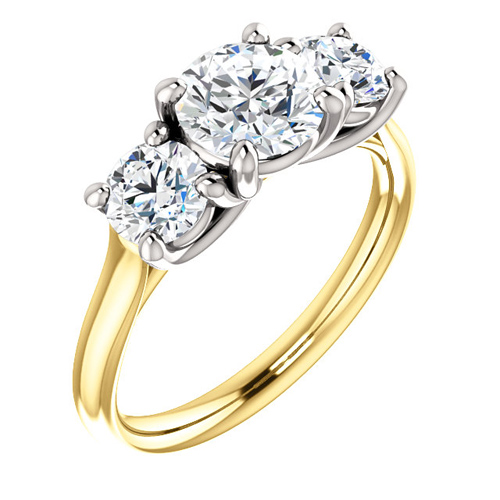 14kt Two-tone Gold 2 ct tw Forever One Moissanite 3-Stone Ring