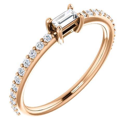14kt Rose Gold 3/8 ct Diamond Baguette Stackable Ring