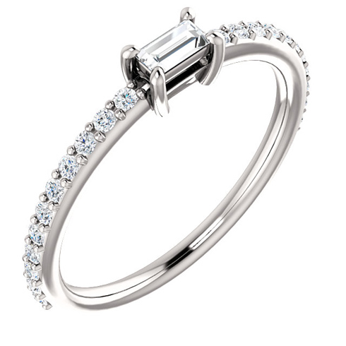 14kt White Gold 3/8 ct Diamond Baguette Stackable Ring