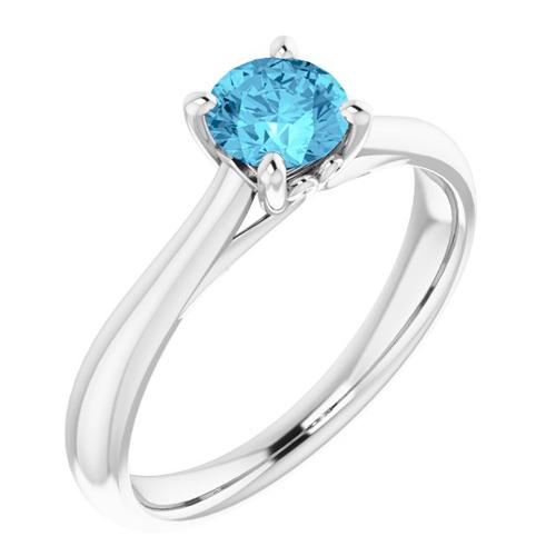 14k White Gold 1/2 ct Aquamarine Solitaire Ring