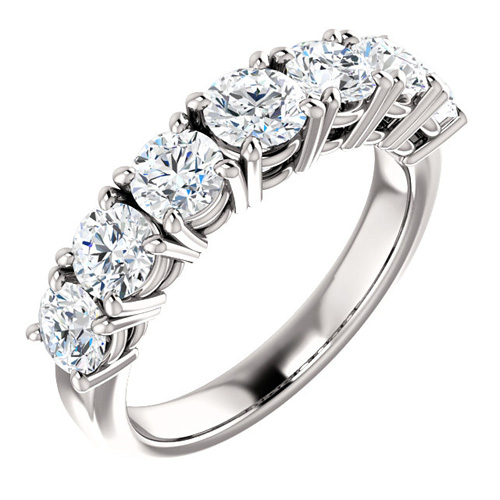 14kt White Gold 1.8 ct Forever One Moissanite 7-Stone Ring