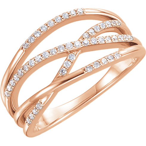 14kt Rose Gold 1/4 ct Diamond Ring with Criss-Cross Design