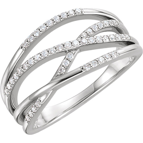 14kt White Gold 1/4 ct Diamond Ring with Criss-Cross Design