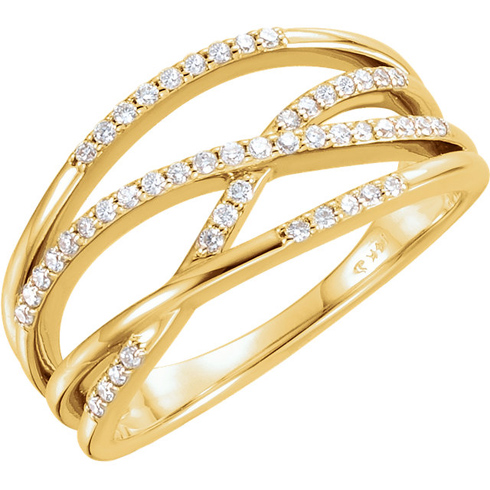 14kt Yellow Gold 1/4 ct Diamond Ring with Criss-Cross Design
