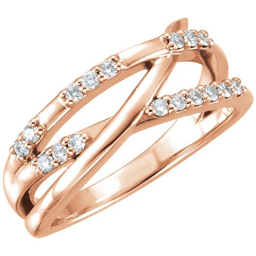 14kt Rose Gold 1/4 ct Diamond Crossways Ring